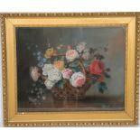 """PASTEL """"BOUQUET DE FLEURS """" Pastel sous verre et encadré, représentant un bouquet de fleurs dans"""
