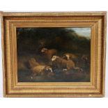 """TABLEAU """"LES MOUTONS"""" Huile sur toile encadrée, représentant un berger endormi allongé auprès de ses"""