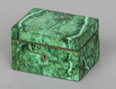 A late 19th century malachite trinket box Of hinged rectangular form, the front with a brass