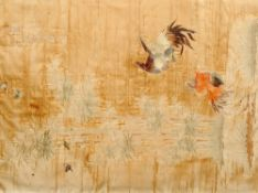 A large 19th century Chinese silkwork panel Worked with fighting cocks, bamboo, birds and insects,