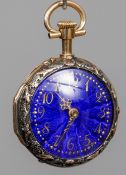 A Victorian unmarked gold, blue enamel decorated fob watch
