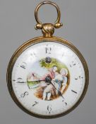 An early 19th century brass cased verge pocket watch