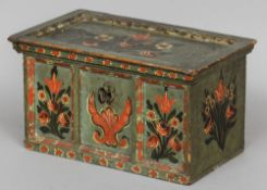 A 19th century Scandinavian painted pine casket Decorated with floral sprays, the interior