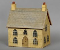 A naive Victorian house form tea caddy Of large proportions, the hinged roof enclosing twin lidded