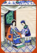 A pair of 19th/20th century Chinese pith paper paintings Depicting an emperor and an empress with