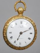 A late 18th/early 19th century gold plated verge pocket watch