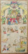 A large 19th century Chinese watercolour Decorated with figures in court above figures receiving