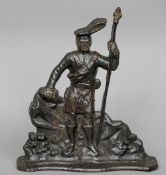A 19th century cast iron doorstop Formed as a Scottish Highlander, in traditional attire.  38 cm
