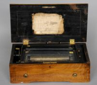 A 19th century rosewood and walnut cased Swiss cylinder music box