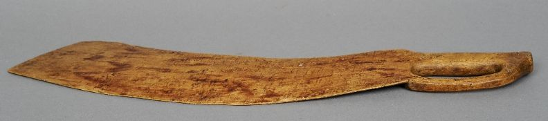 An unusual 19th century treen knife With a pierced handle and chip carved broad blade.  55.5 cm