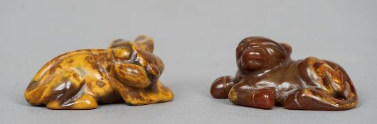 Two Chinese carved agate groups One modelled as a mythical beast, the other an ox, both