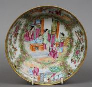A late 19th century Cantonese famille rose bowl Decorated throughout with vignettes of figures