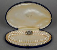 A Victorian three strand pearl choker