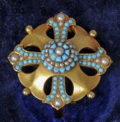 A Victorian unmarked 15 ct gold pendant brooch