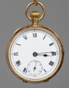 A 9 ct gold cased lady's pocket watch  The white enamelled dial with Roman numerals and subsidiary