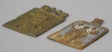 Two 18th/19th century European bronze religious plaques One depicting the Madonna and Child, the