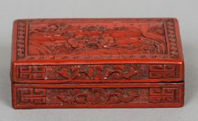 A Chinese red cinnabar lacquered box and cover Worked with figures and mountainous landscape.  15