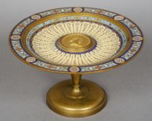 A 19th century French enamel decorated bronze tazza The florally decorated enamelled dished top