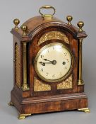 A Georgian brass mounted mahogany cased repeating bracket clock The domed top with ball finials