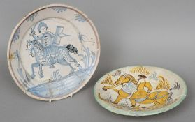 Two 17th/18th century Continental polychrome decorated dishes Each with equestrian decoration.
