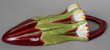 An Art Nouveau Austrian pottery wall pocket Decorated with tulips, stamped Austria and numbered