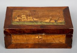 A Victorian inlaid mahogany and walnut writing slope The hinged cover inlaid with two ships in