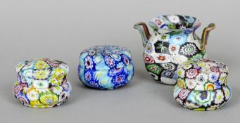 Four pieces of Murano cane work glass Including: three lidded pots and a twin handled vase.  The