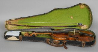 A 19th century German violin The single piece back and interior printed label for Zacharias Fischer,