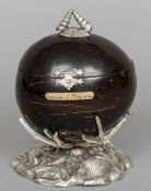 A 19th century silver plate mounted coconut on stand