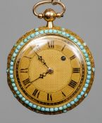 A Victorian 18 ct gold turquoise mounted pocket watch