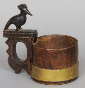 A 19th century Scandinavian burrwood, possibly birch brass bound tankard/measure The cylindrical
