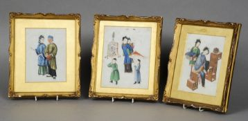 Three 19th century Chinese pith pictures Each depicting figures in various pursuits, each housed