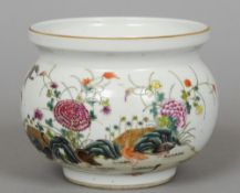 A small Chinese porcelain bowl Of squat form with a flared rim, decorated with geese amongst