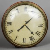 A 19th century mahogany framed eight day wall clock The 17 inch white painted dial with Roman