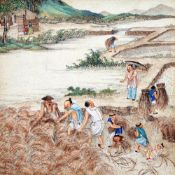 CHINESE SCHOOL (19th/20th century) Figures Harvesting Rice Watercolour heightened with bodycolour