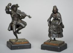 A pair of 19th century Continental bronze figures One formed as a violinist, the other a dancing