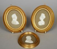 Three 19th century Parian ware porcelain silhouettes Each depicting the bust of an historical