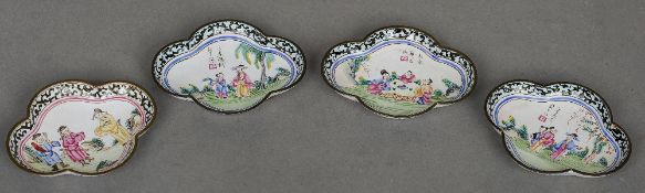 Four 19th century Canton enamel dishes -