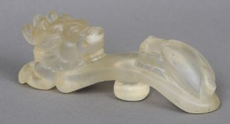 A Chinese carved glass ruyi sceptre  Mod