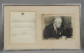 A letter of thanks signed by Prime Minister Harold Wilson