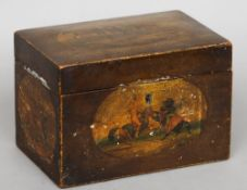 A 19th century painted cigar box The exterior painted with vignettes of various battling knights,