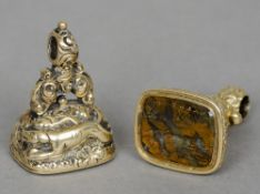 Two Regency gold desk seals Both matrices engraved with foxes, one also inscribed Tally Ho.  The