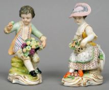 A pair of 19th century Continental porcelain figures, possibly Dresden One formed as a young girl