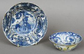 A Chinese blue and white porcelain bowl  Decorated with figures amongst vignettes; together with