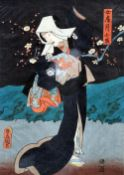 UTAGAWA KUNISADA (TOYOKUNI) (1797-1865) Japanese Triptych woodblock prints Signed within the plate