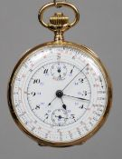 An unmarked 18 ct gold chronometer pocket watch The white enamel multi-dial with various Arabic