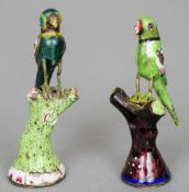 Two 19th century Canton enamel decorated unmarked white metal models of parrots Each modelled