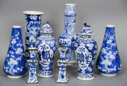 A group of 19th century Chinese blue and white porcelain vases Including two pairs and a pair of