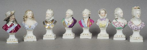 A set of eight 19th century Samson porcelain figural busts Each depicting an historical courtly