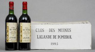A case of Clos de Moines Lalande-de-Pomerol 1985 Twelve bottles in cardboard case.  (12) CONDITION